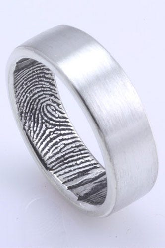 fabuluster the original custom fingerprint wedding band in sterling silver 195 available at fabuluster - Alternative Wedding Rings