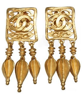 Chanel-Goldtone-logo-earrings-$775