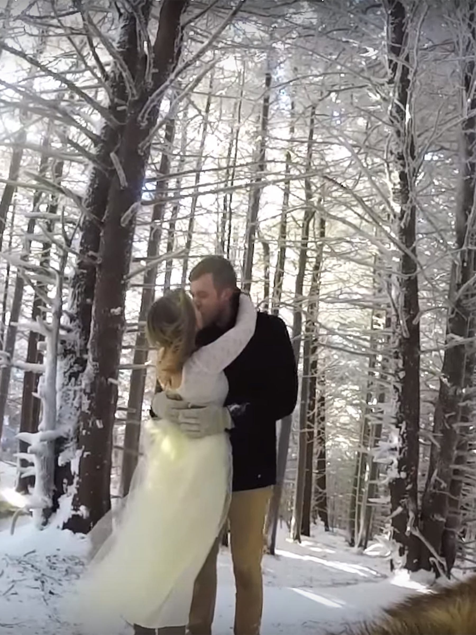 Wedding Dog GoPro Camera Video - Couple let their dog film their snowy wedding day and the result was magical
