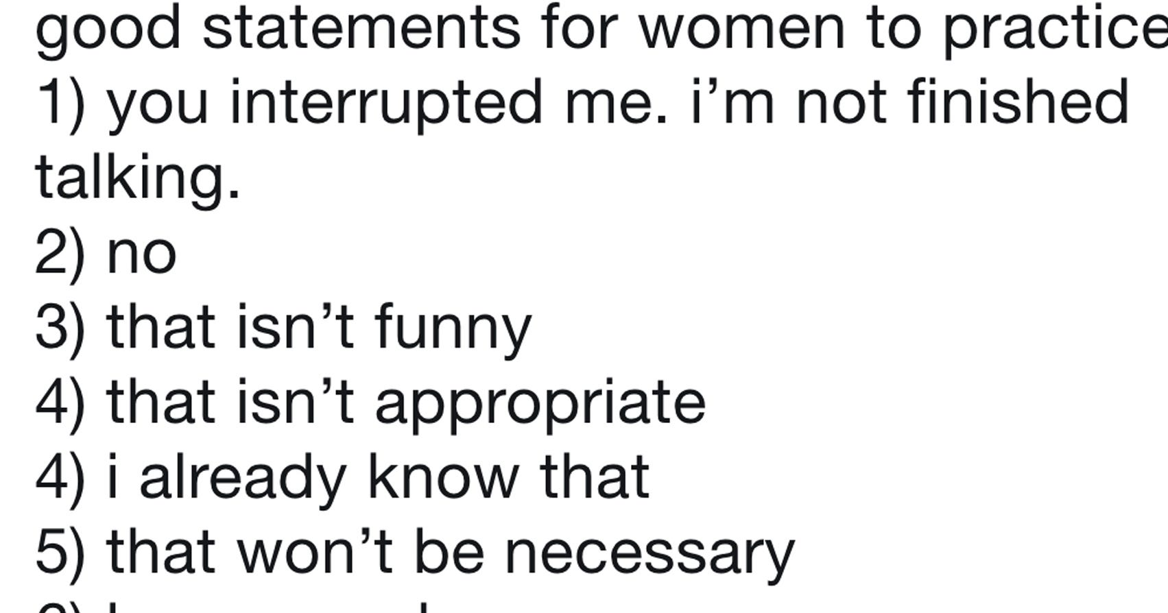 A List Of Statements That Women Should Practice Telling Men Has Gone Viral