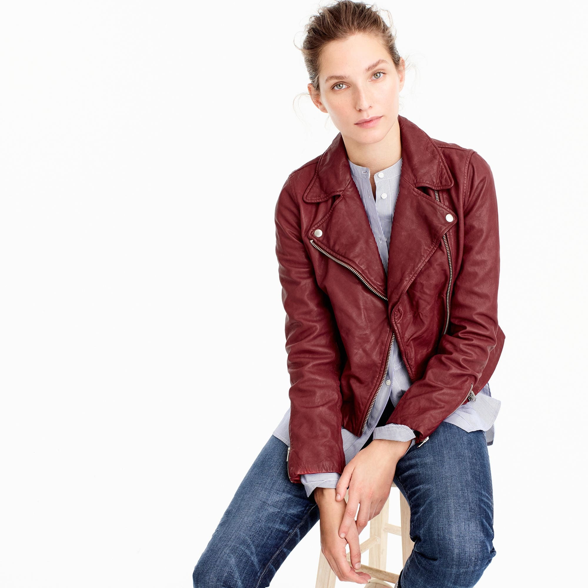 e4a56073 J.Crew Collection Washed Leather Motorcycle Jacket, $495, available at  J.Crew.