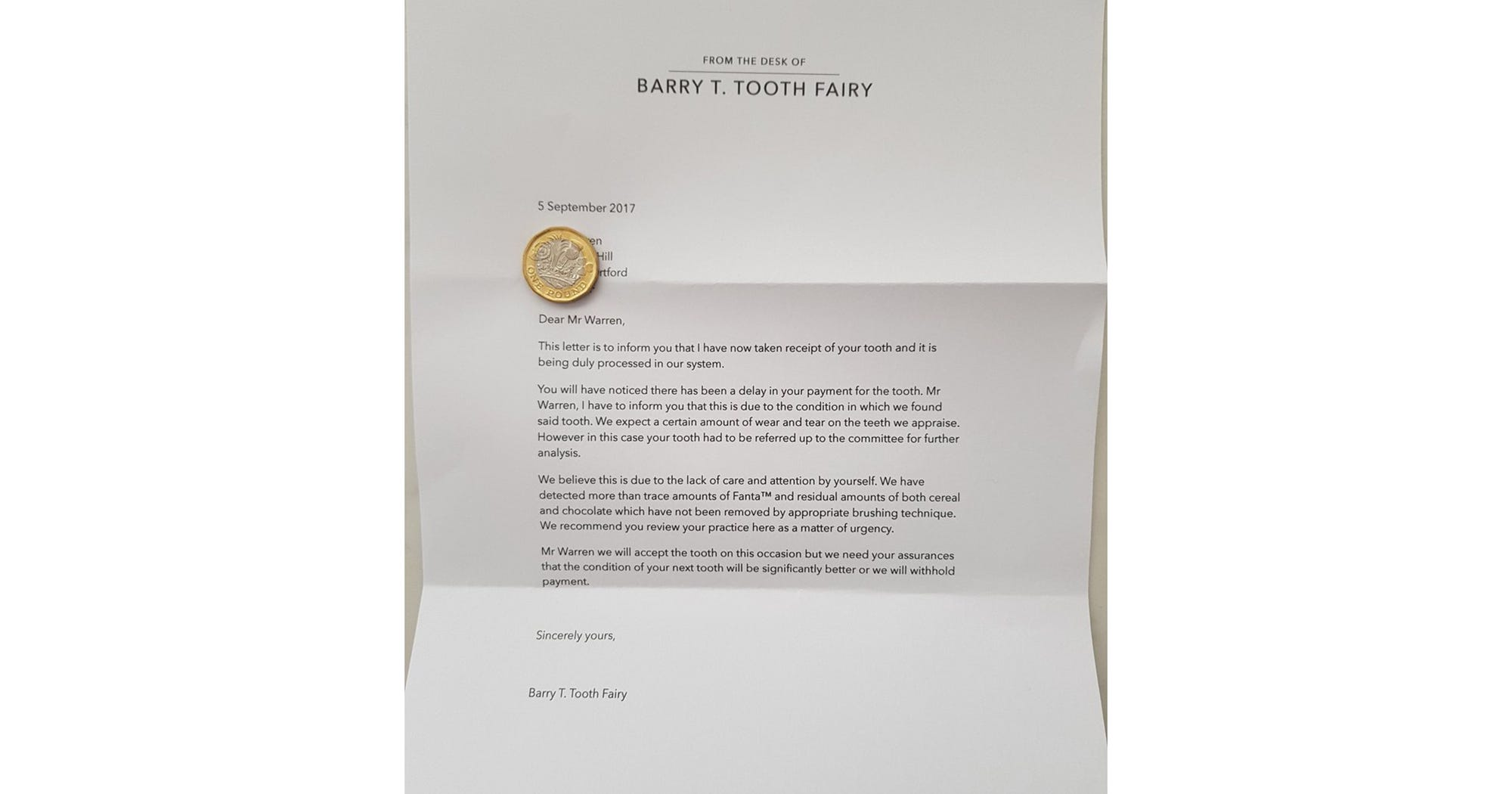 barry t tooth fairy letter parents trick brush teeth