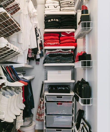 Fiona Byrne's gorgeous mini-walk-in closet inspires envy in us for two  reasons. First, there's her neatly hung and stacked clothes, all within a  united ...