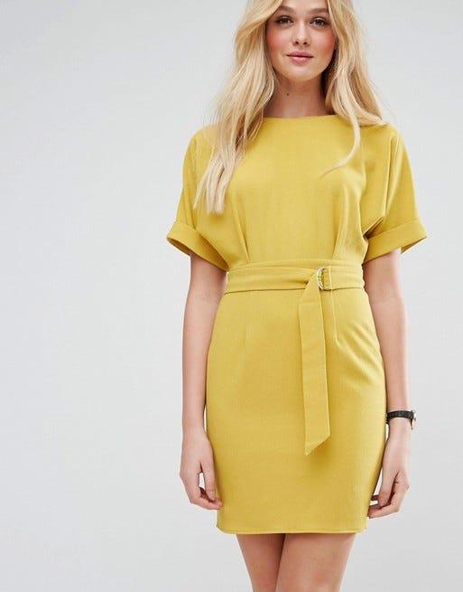 Mustard yellow dress asos us