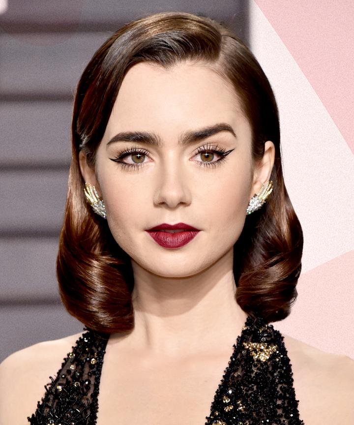 Lily Collins Hair Makeup Styles Fresh Skin Dark Brow