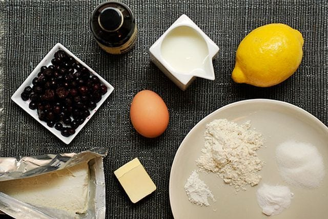 Food52- Lemony Cream-Cheese Pancakes With Blueberries
