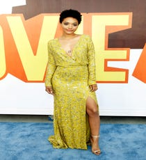 Citron yellow is a difficult color to get right, but actress Kiersey Clemons' sparkling long-sleeved dress was absolute perfection. Worn with a nude ankle-strap sandal, she kept it simple with a refreshing lack of over-the-top jewelry that might compete with that new chest tattoo.For A Similar Style Try:Lulu's That's a Wrap Neon Yellow Long Sleeve Dress, $49, available at Lulu's.