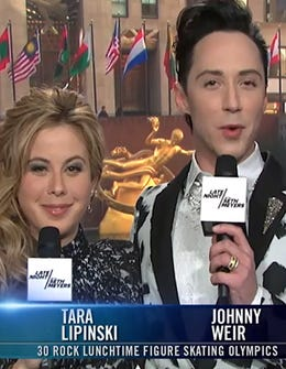 Johnny Weir & Tara Lipinski Take On 30 Rock Ice Skaters