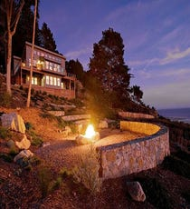 Big Sur Estate  There's no shortage of fabulous lodging in Big Sur — we're looking at you, Post Ranch Inn. But, if you ask us, the way to go is this rental house. Not only is it perched smack-dab on the coastline, overlooking the ocean, it features three bedrooms, two baths, and a fire pit. In other words, it has weekend group getaway written all over it. The modern amenities mixed with the rustic, natural elements of the Ventana Wilderness make it an A+ choice for an inspiring excursion. Sean Parker, eat your heart out.