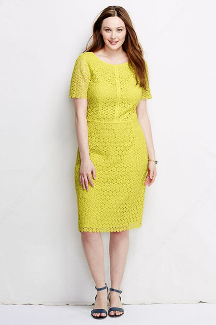 Women\'s Plus Size Short Sleeve Lace Sheath Dress