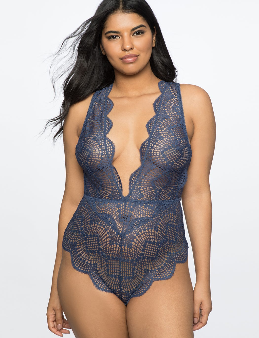 cd5399a9ad8 Eloquii. Lace Bodysuit With Plunging Neckline