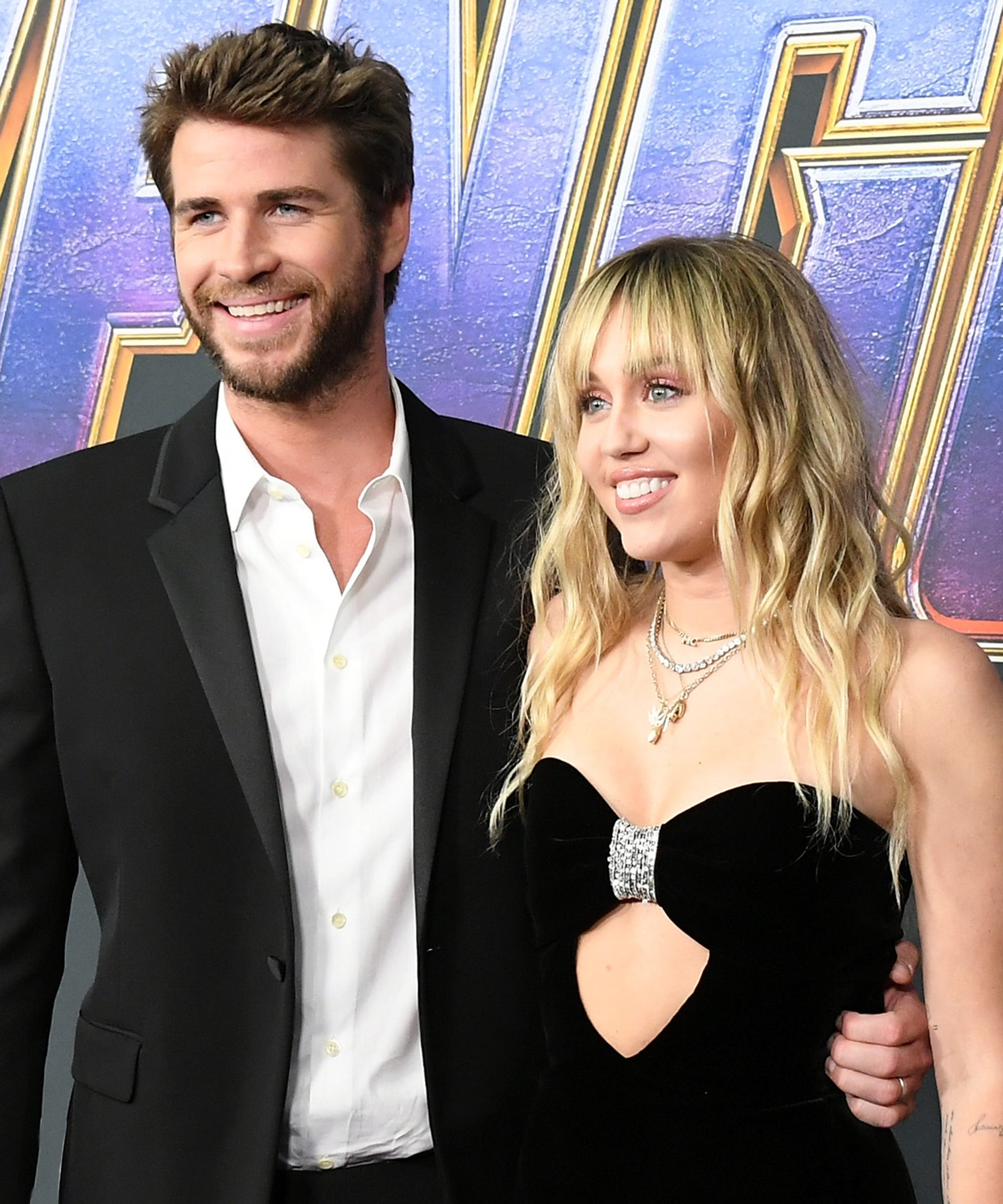 Miley Cyrus And Liam Hemsworth Wore Matching Saint Laurent At The Avengers: Endgame Premiere