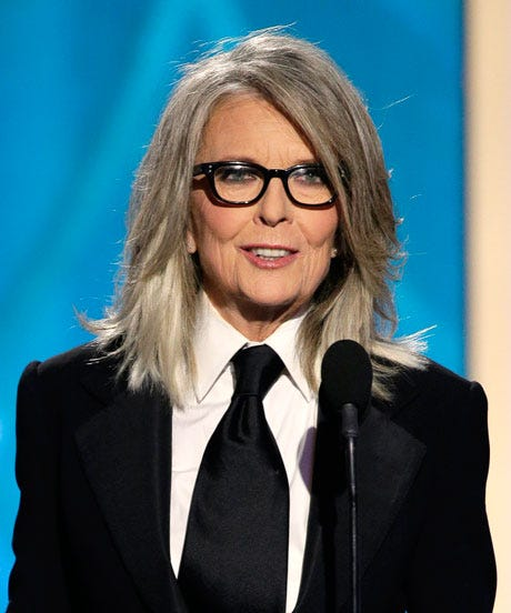 Diane Keaton Gray Hair Golden Globes