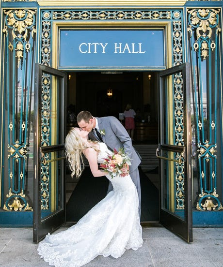 San francisco city hall wedding while some folks may opt for the big tent frills that come with a larger nuptial affair others prefer to take a simpler more relaxed route junglespirit Choice Image