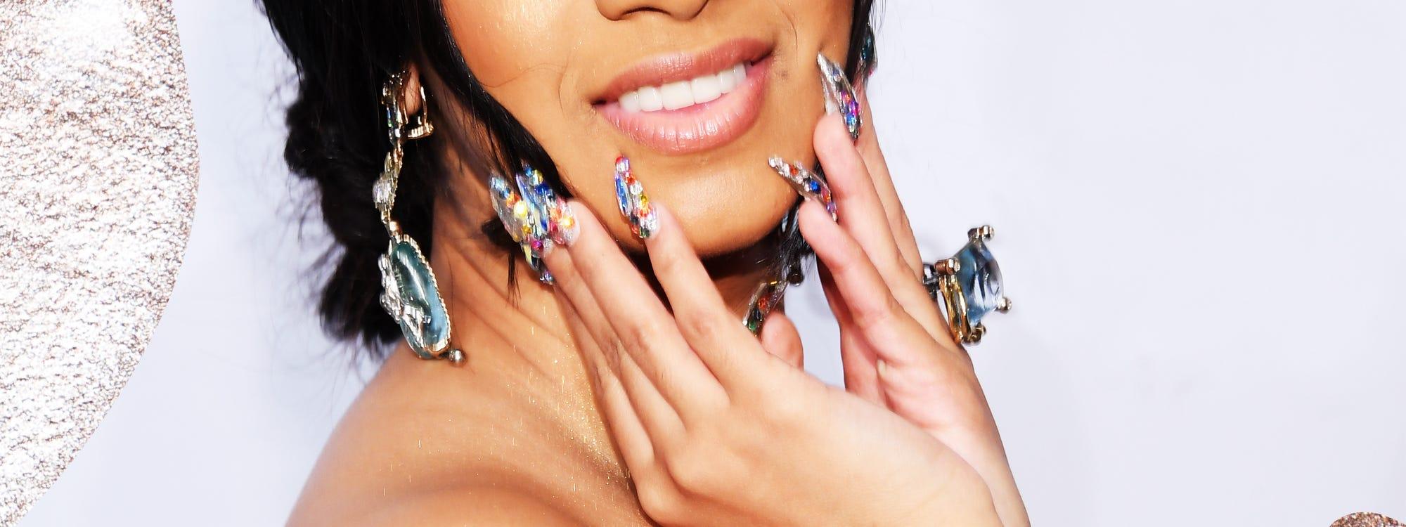 Cardi B Nail Art Trends Crystal Manicure Inspiration