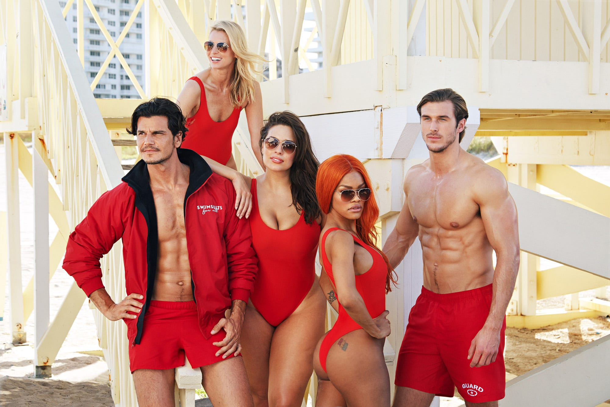 970e83ab8f6 Ashley Graham Baywatch Red Swimsuits for All Photos