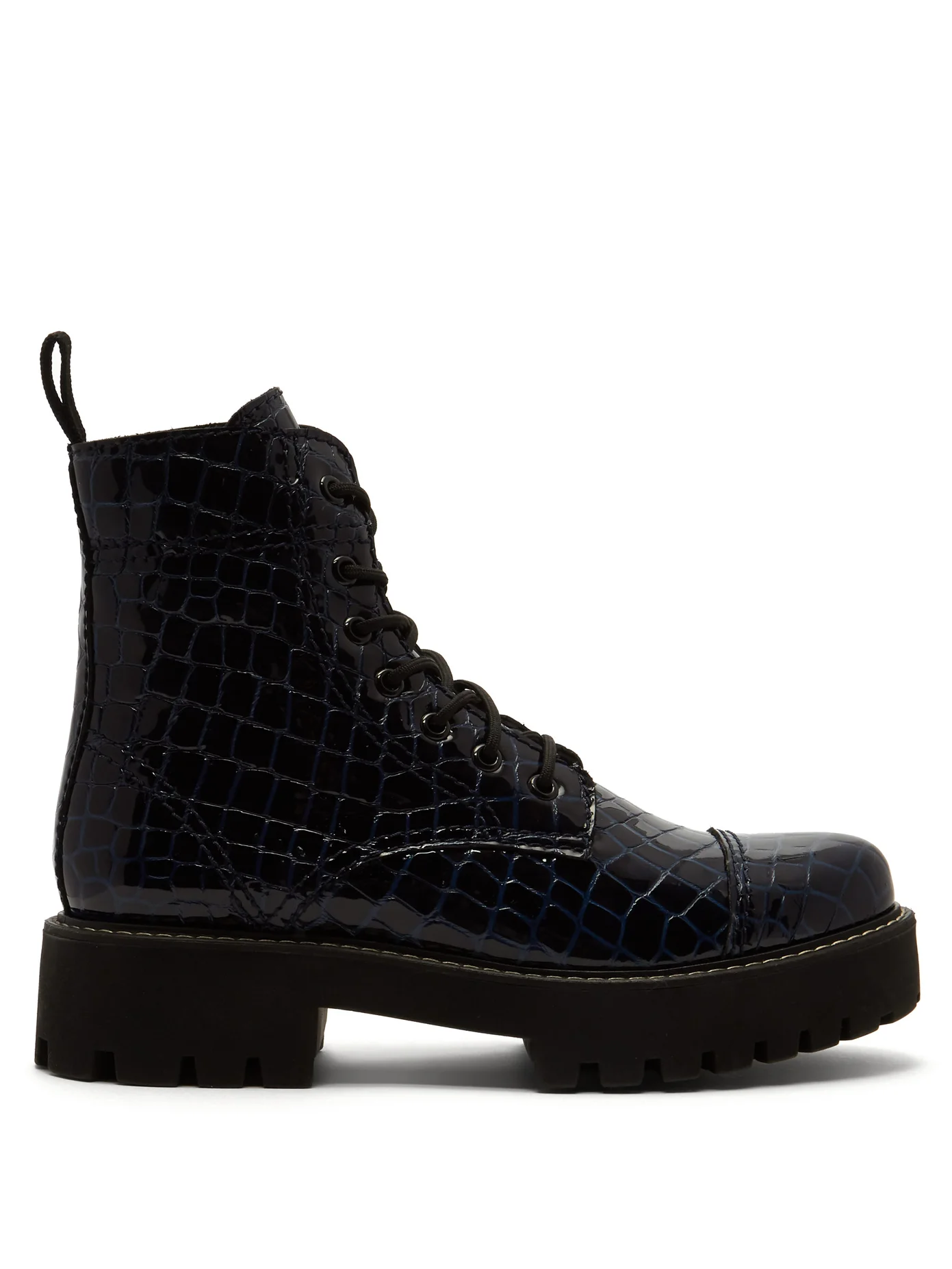 c8be534dd9d Crocodile-Effect Leather Boots