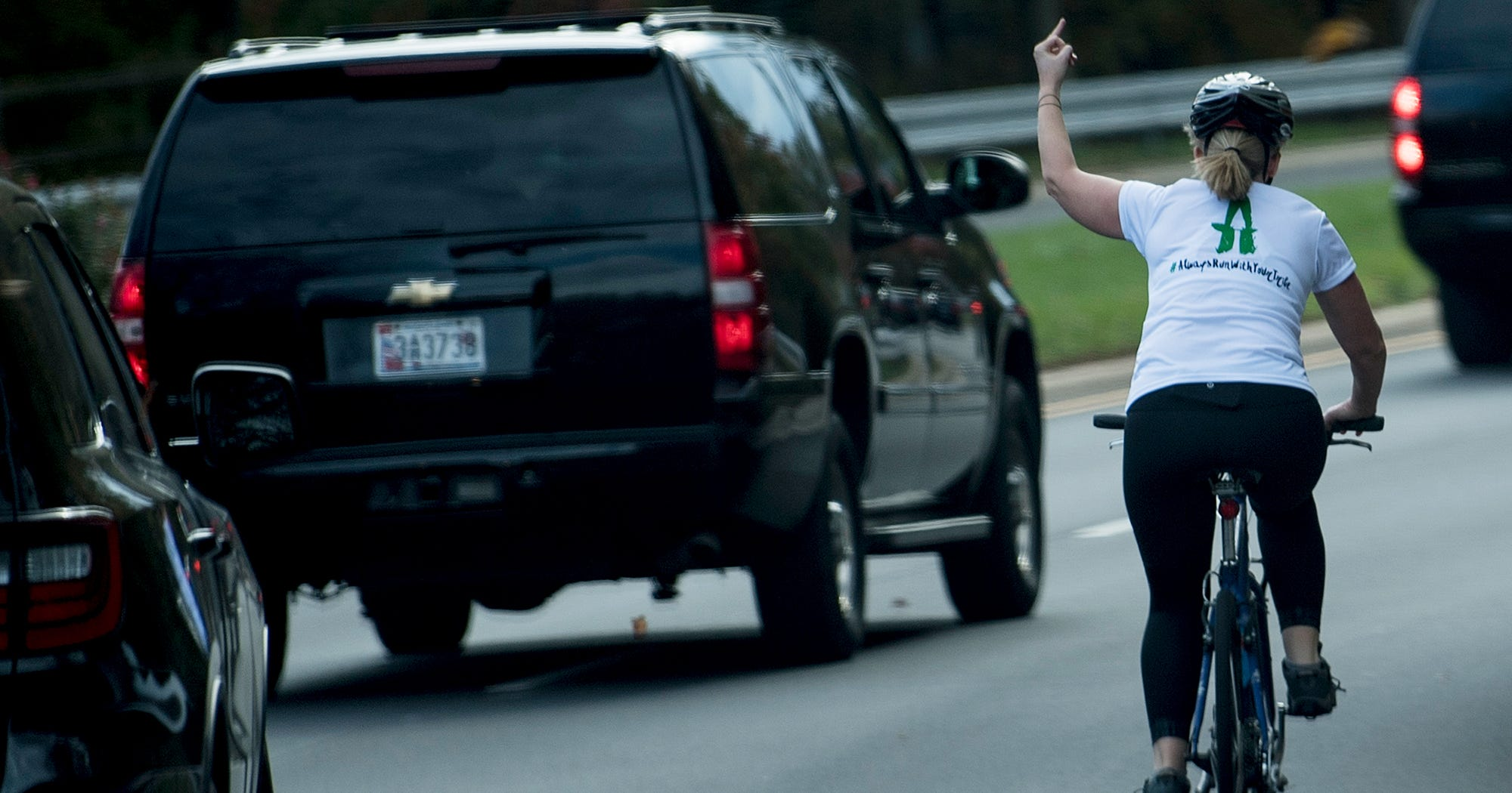 This Woman Flipped Off Donald Trump's Motorcade Last Year. She's Still Paying For It.