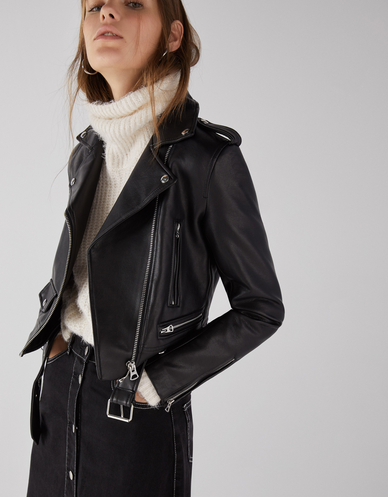 230fdc35a39 Bershka. Faux Leather Biker Jacket.  69.90. BUY