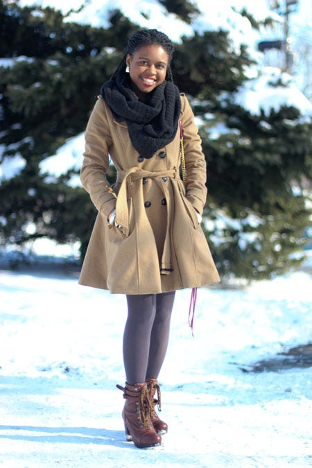 Aramide Is A Style Blogger And Wardrobe Stylist In Chicago Her Boots Coat Are Perfect Example Of How To Bring Sweet Femininity Your Winter