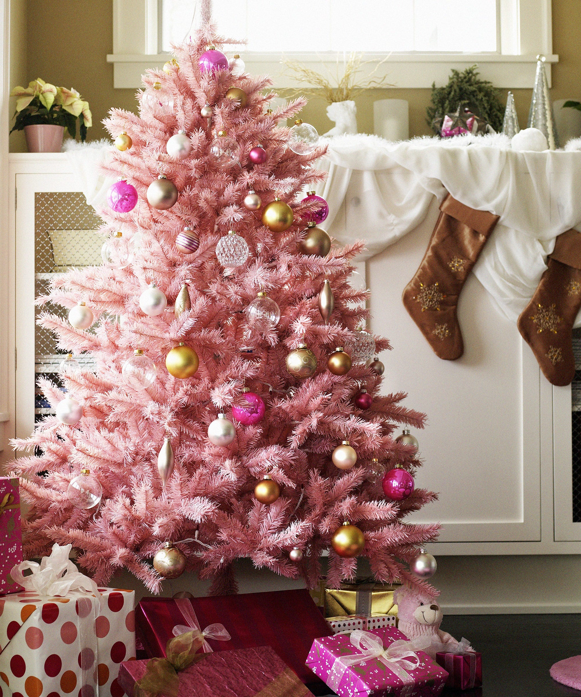 pink christmas tree holiday home decor instagram trend