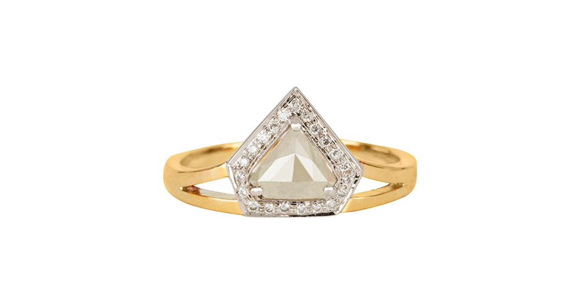 triad simple diamond trillion pin engagement artsy ring white rings diamonds cluster and
