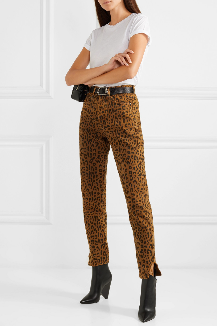 f6efa9586c68 Saint Laurent. Leopard Print High Rise Slim Leg Jeans