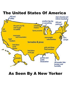 Map Of USA As Seen By A New Yorker