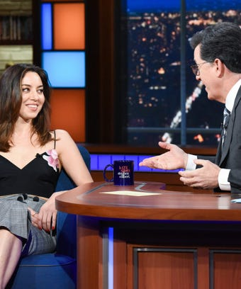 Aubrey Plaza on Stephen Colbert