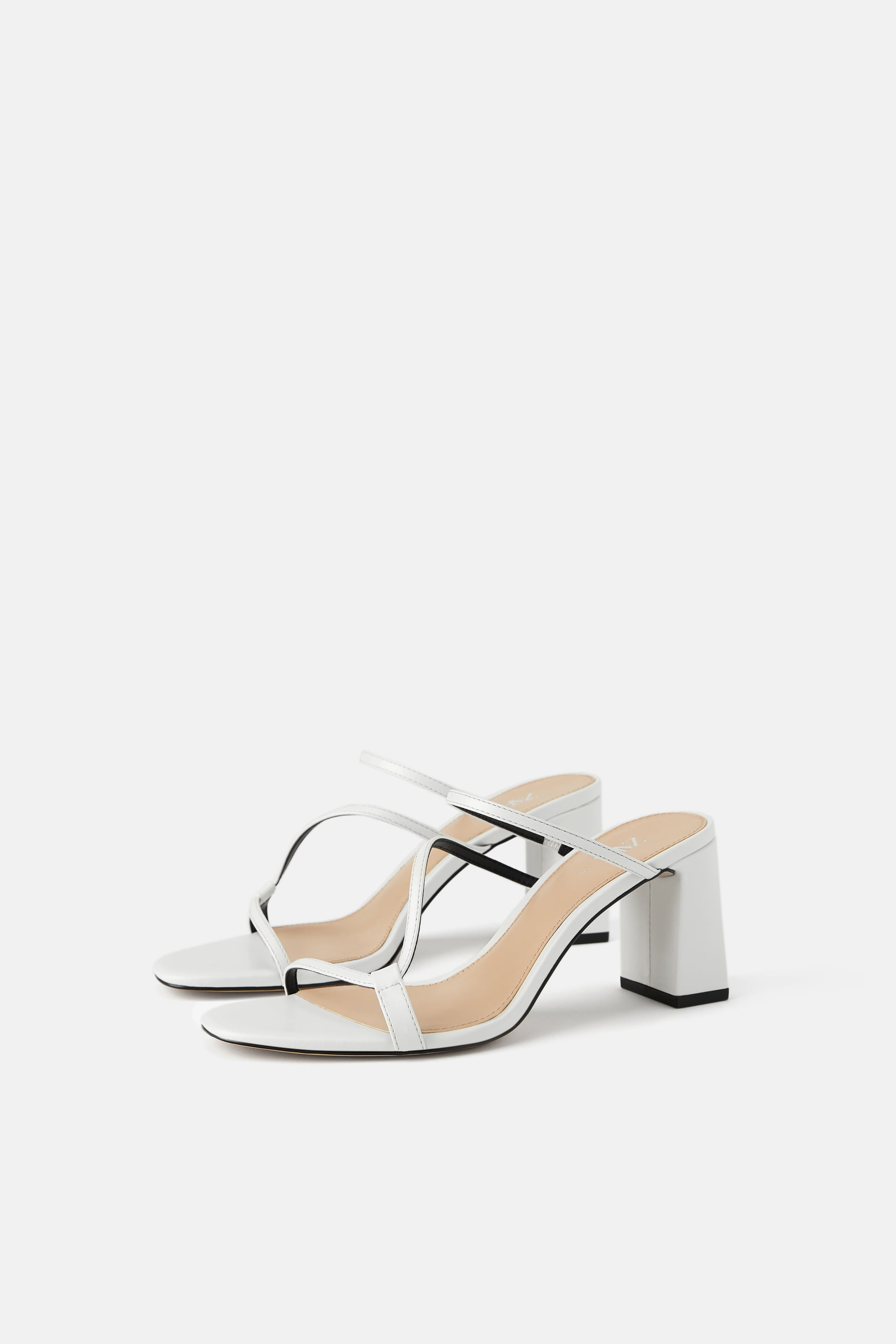 11676ca9413 Zara. Heeled Mules With Asymmetrical Straps