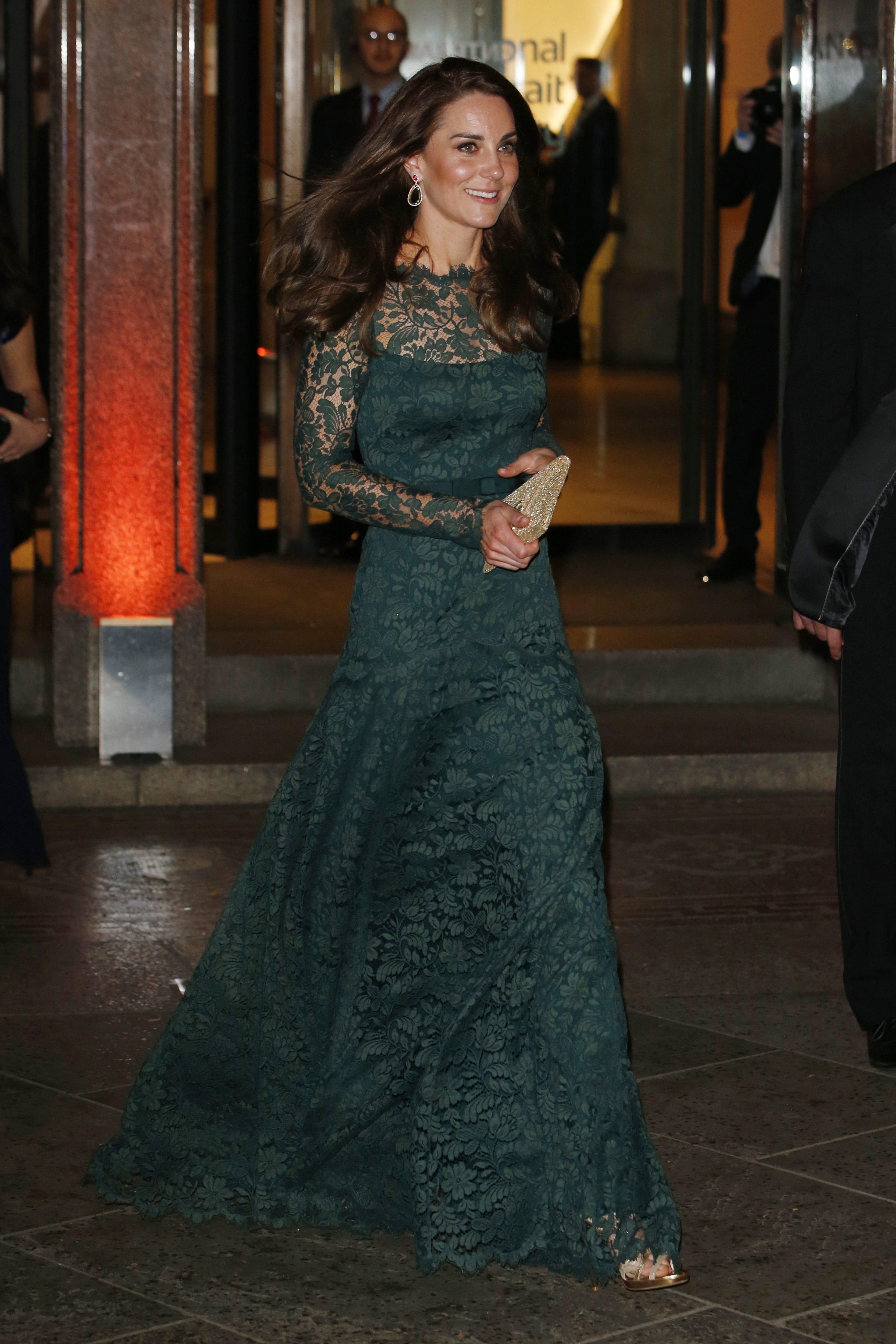Kate Middleton Green Lace Temperley London Dress