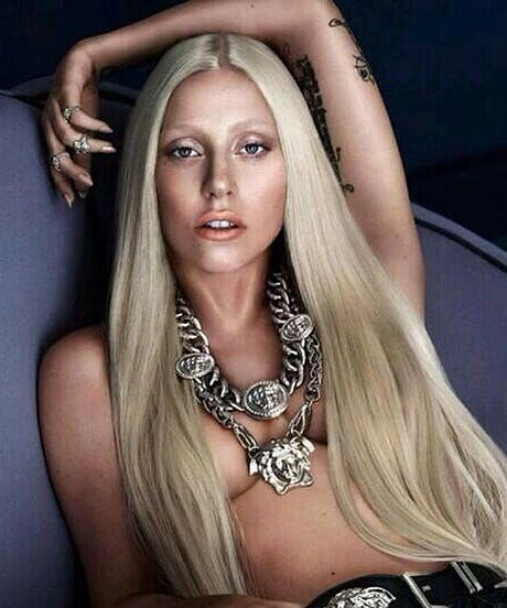 Gaga Goes Topless For Versace, 3 Cheers For Donatella's Hair
