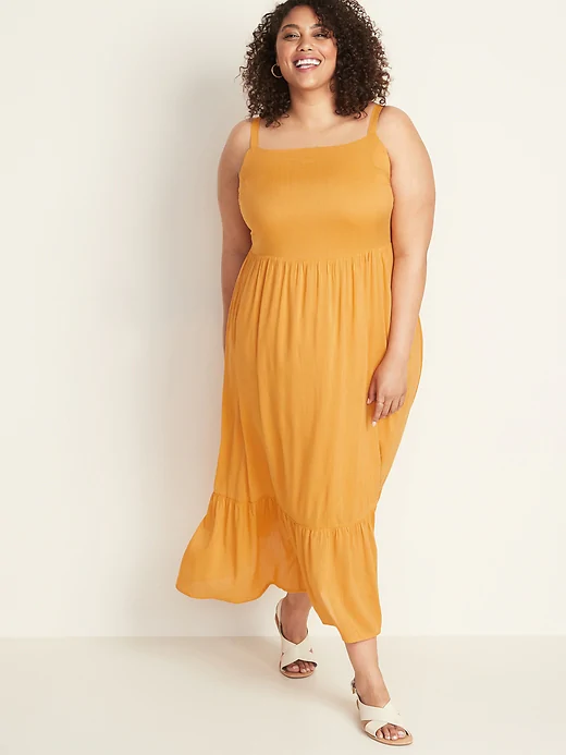 Fit & Flare Tiered Maxi Dress - Sizes 1x - 4x