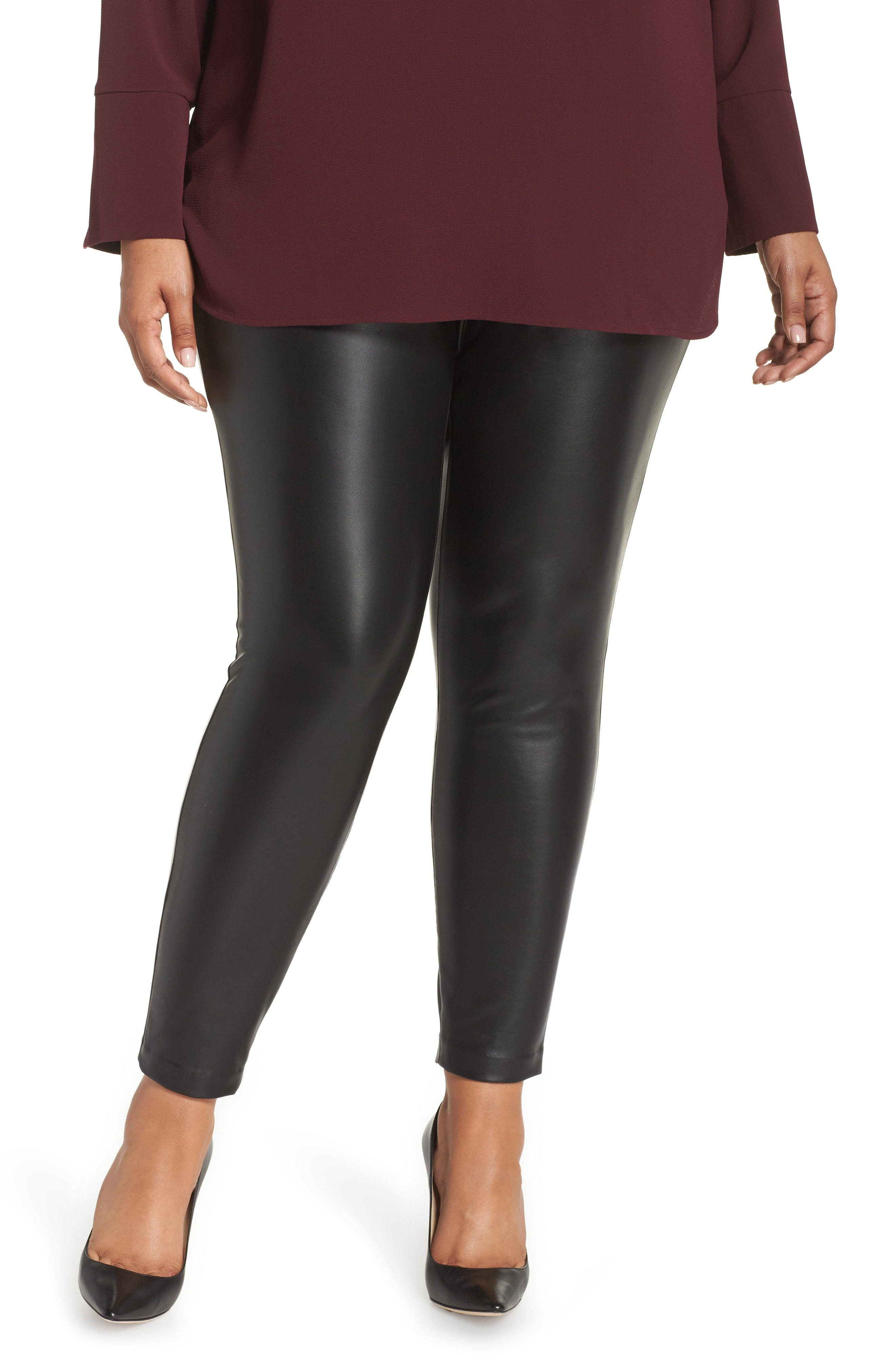 a52e71d4db Vince Camuto. Plus-size Stretch Faux Leather Skinny Pants