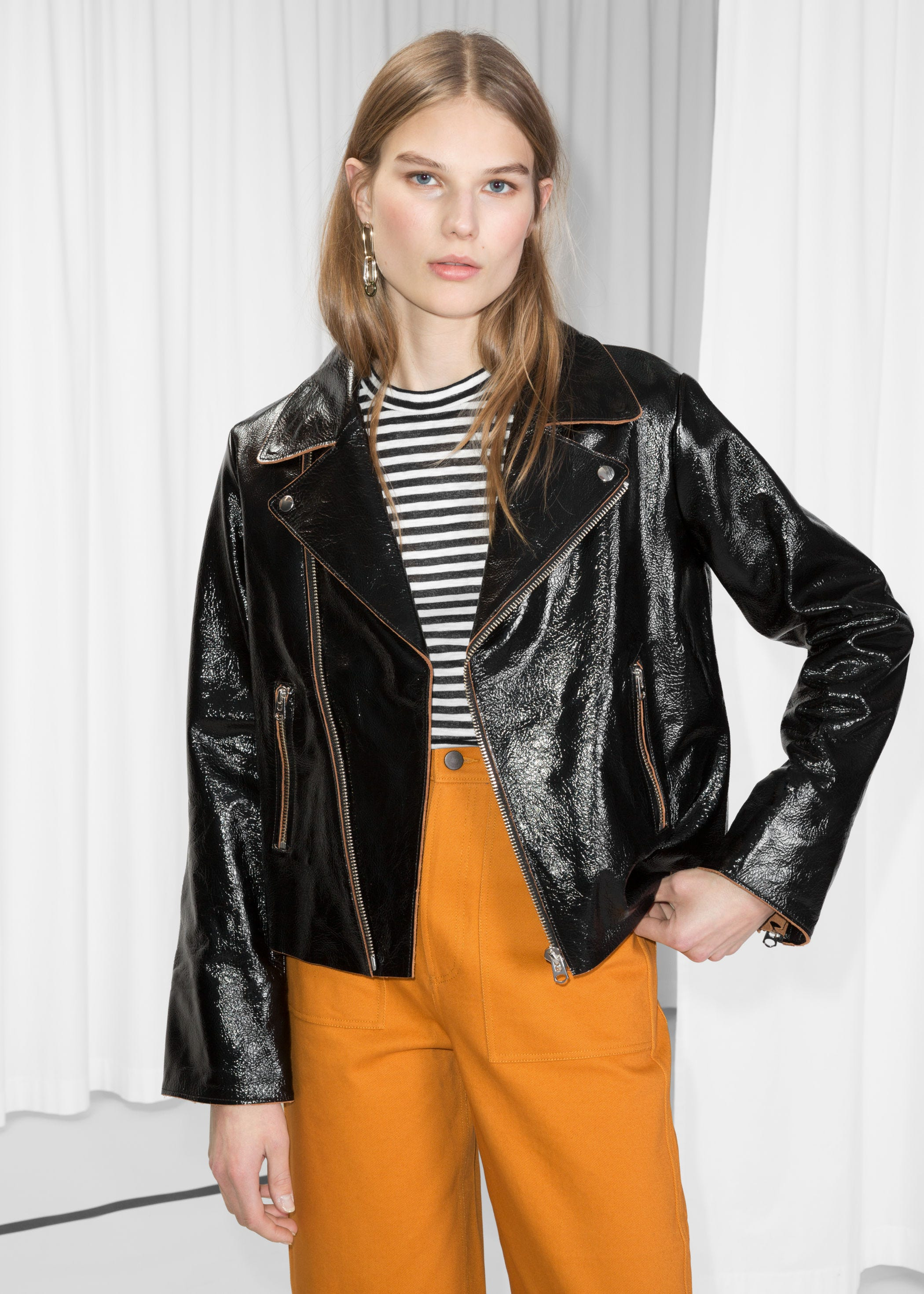 708b951fde7 INFO ·   Other Stories. Patent Leather Biker Jacket.  495.00