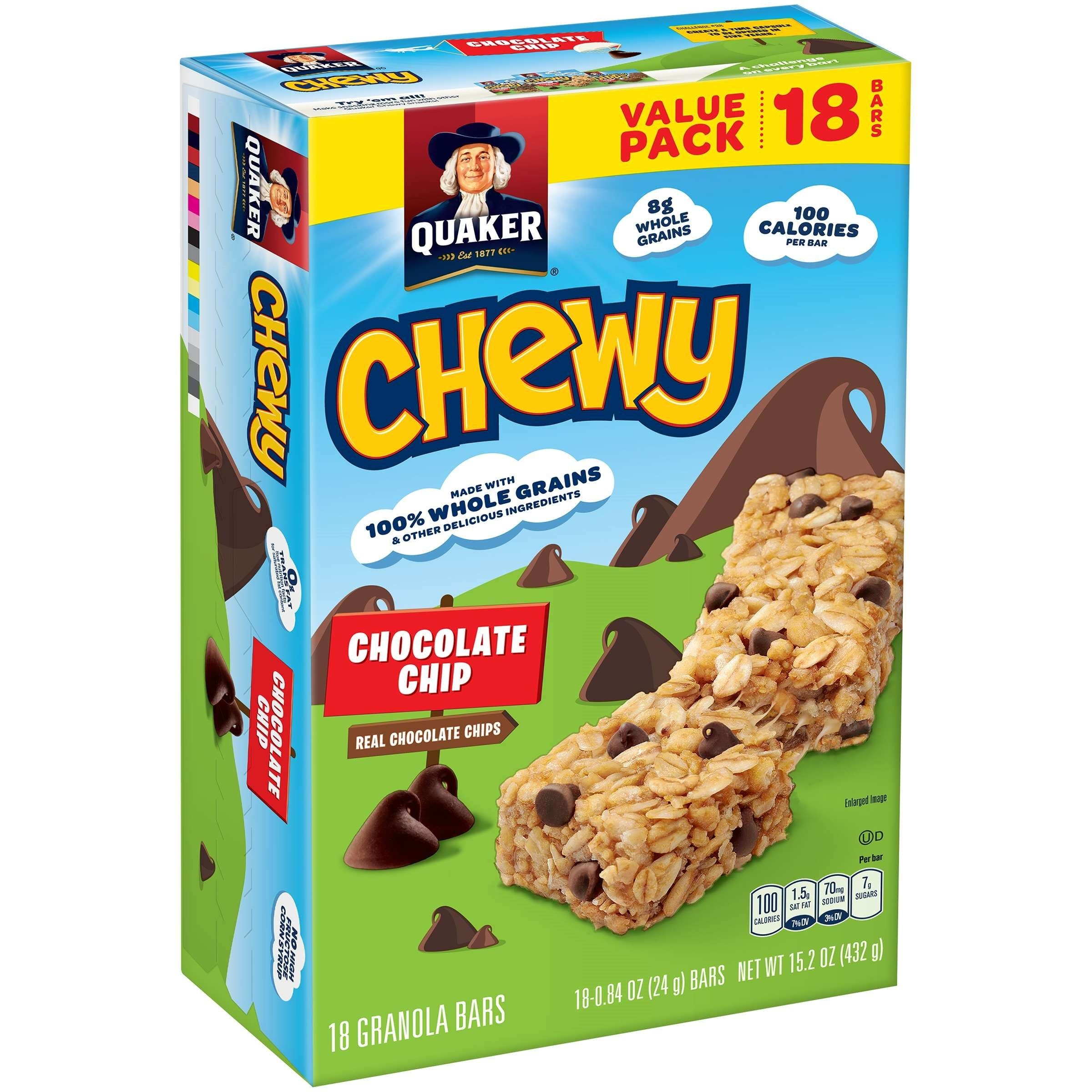 Chewy Granola Bar, Chocolate Chip, 0 84 Oz, 18 Ct