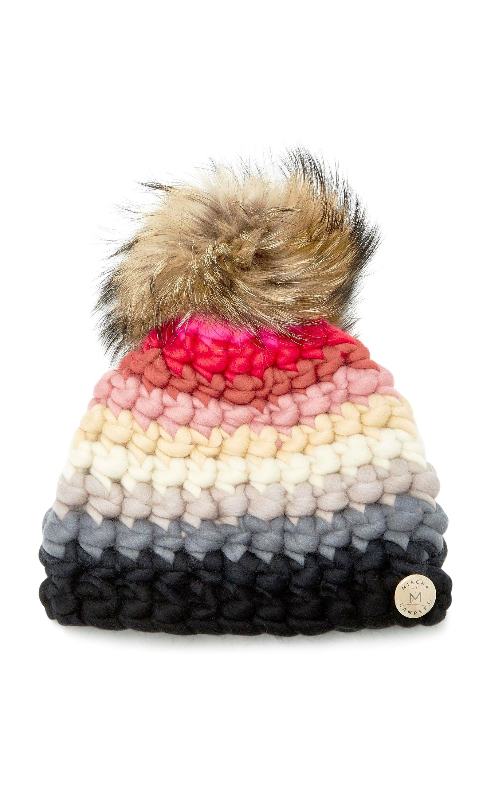 886c96ec0 Striped Fur-Trimmed Merino Wool Beanie