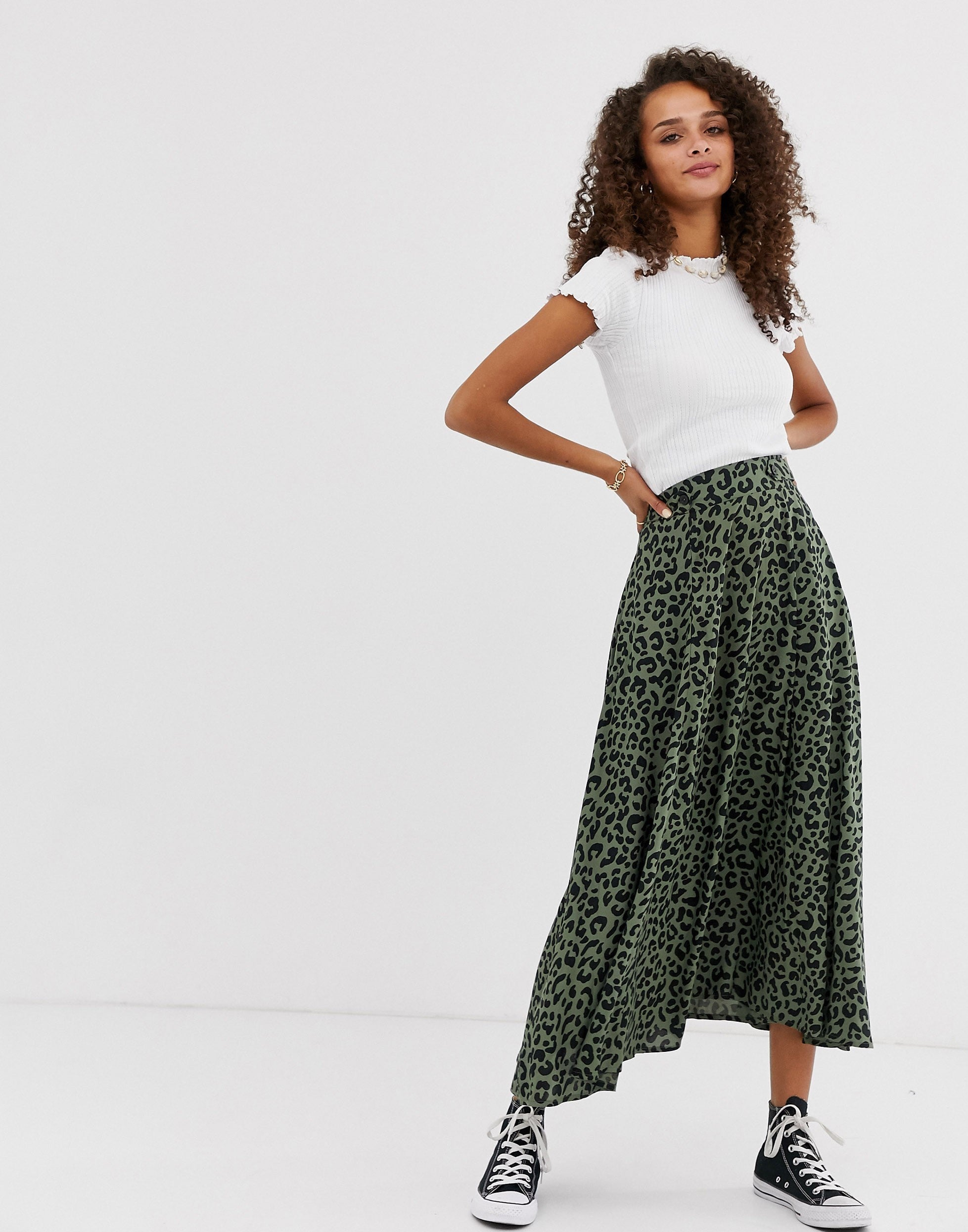 1a534a6bb6 Topshop + Black And White Belted Spot Midi Skirt