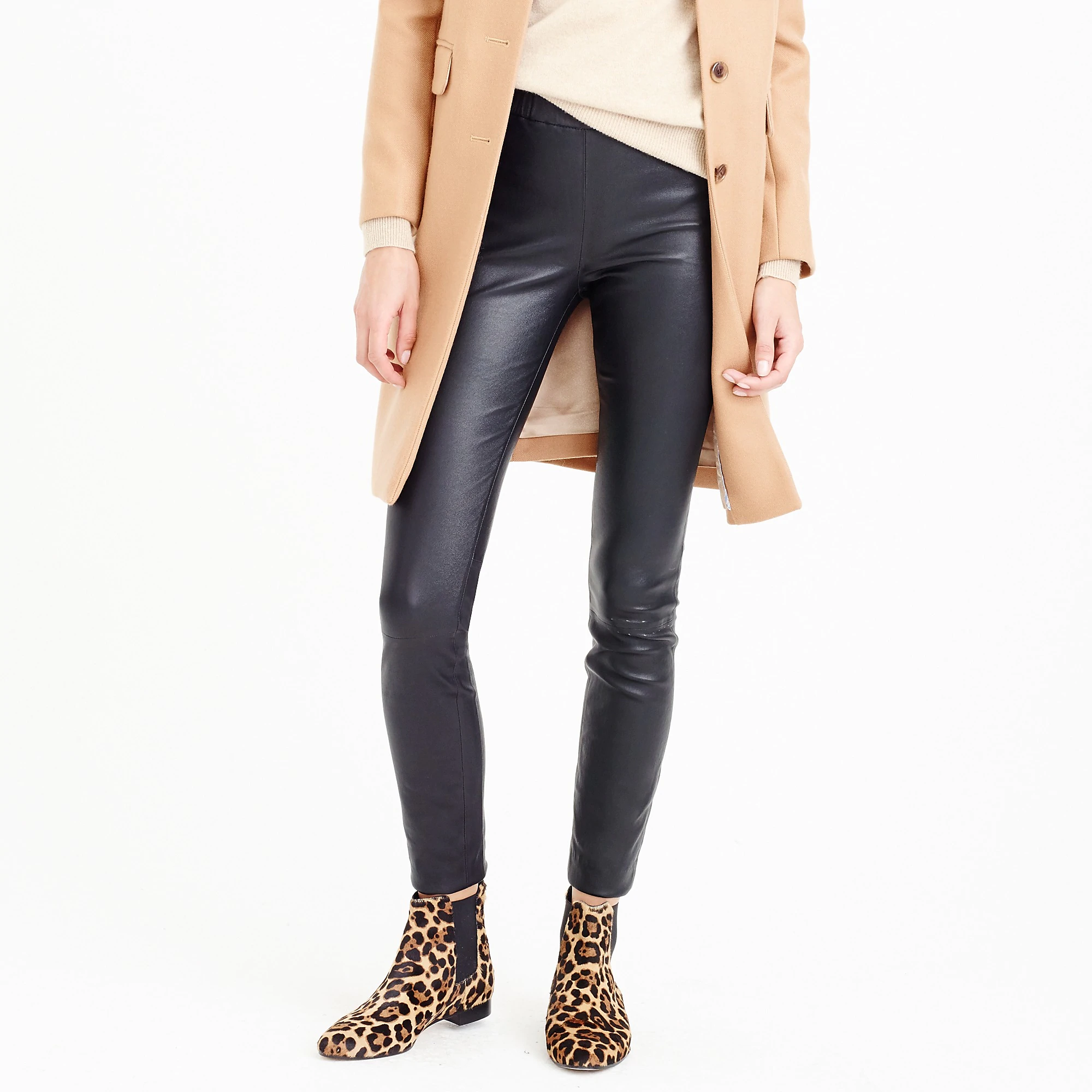 15ca008e Zara + Faux Leather Leggings with Seam at the Knee