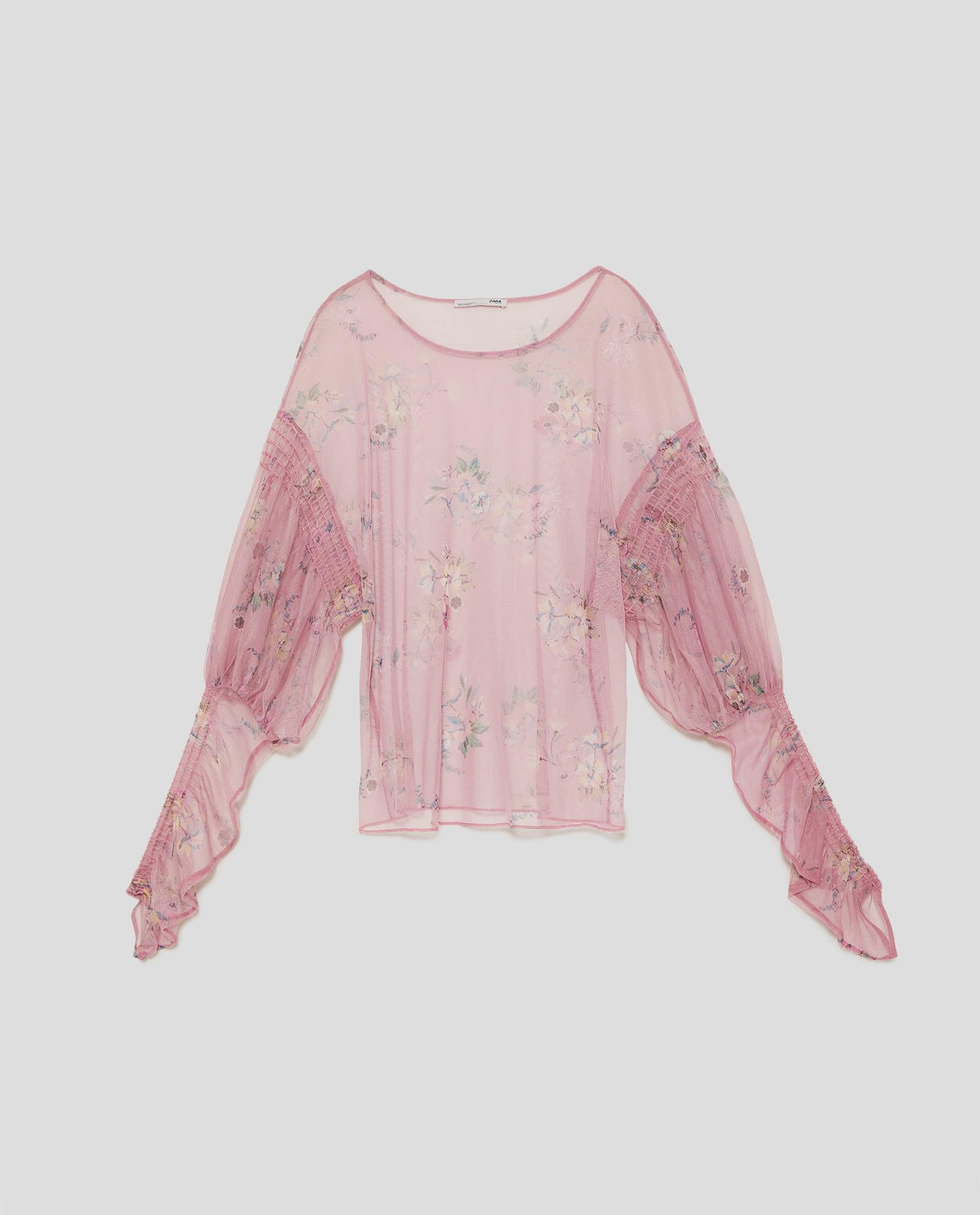 Zara Printed Tulle T Shirt