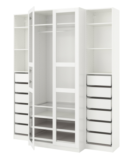 Modernistyczne Ikea + PAX Wardrobe, white, Tyssedal glass IY92