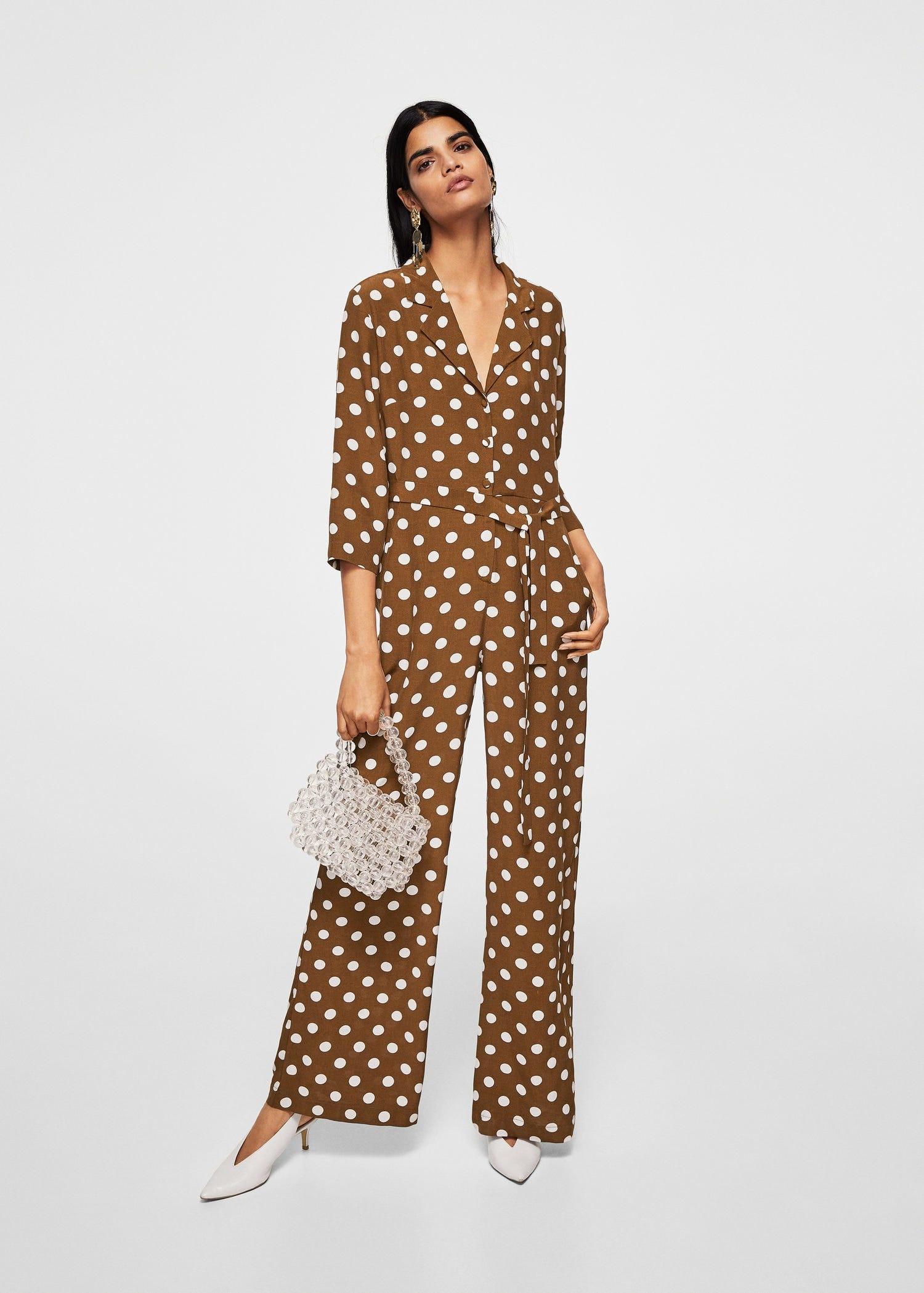 Brown Polka Dot Trend Pretty Woman Polo Match Dress