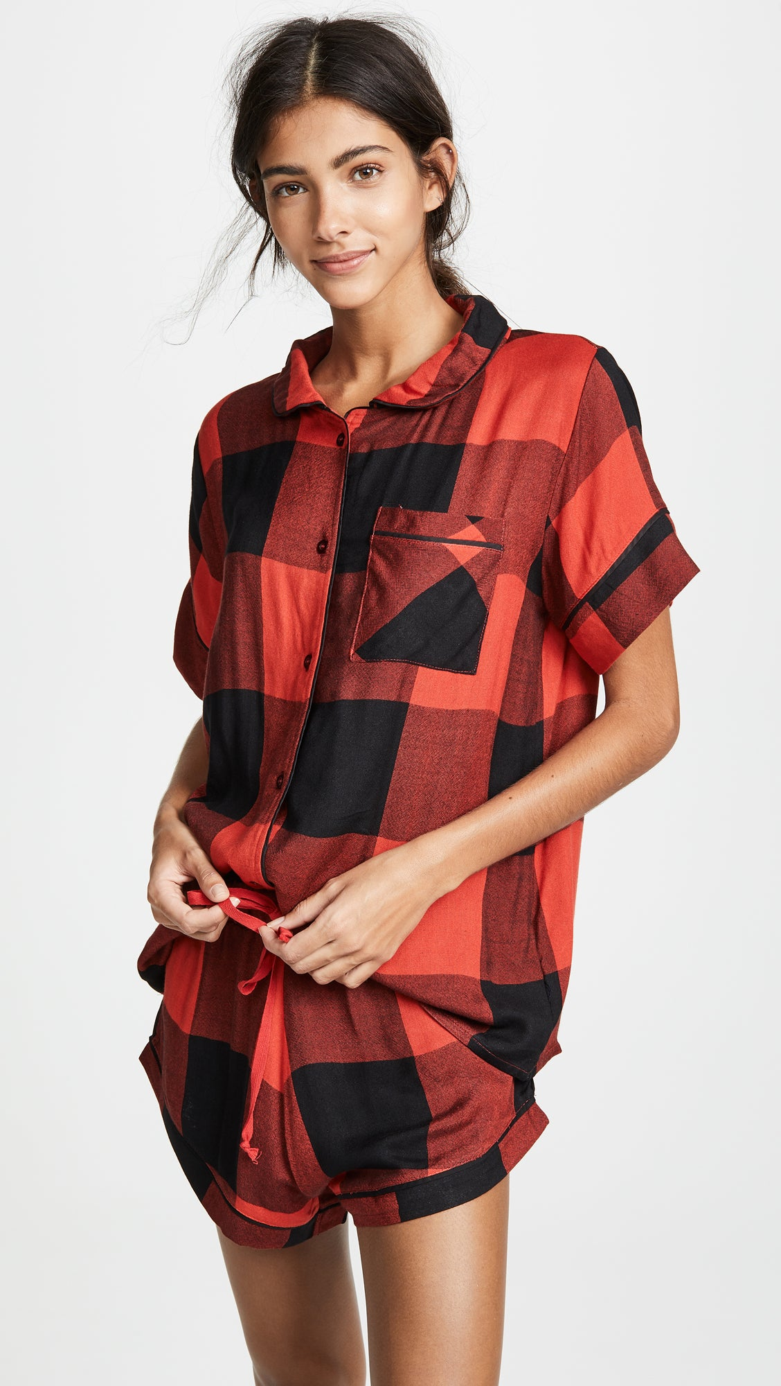 1b5d839505 Plush + Ultra Soft Short Sleeve Buffalo Plaid PJ Set