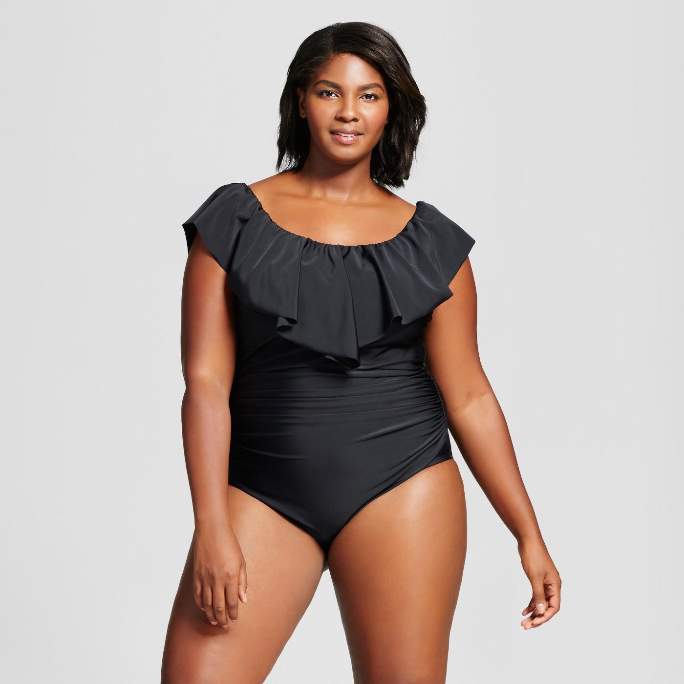 AVA /& VIV One Pc Swimsuit Swimwear Bathing Suit Black Plus Size U Pick NEW