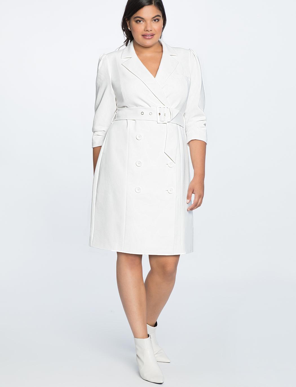 Plus-Size Puff Sleeve Blazer Dress