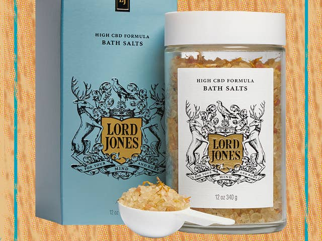 Lord Jones CBD Bath Salts pictured on a neutral background.