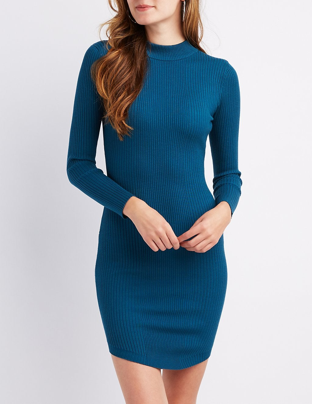 dcee7a7bc936 promoted. Charlotte Russe. Ribbed Mock Neck Bodycon Dress