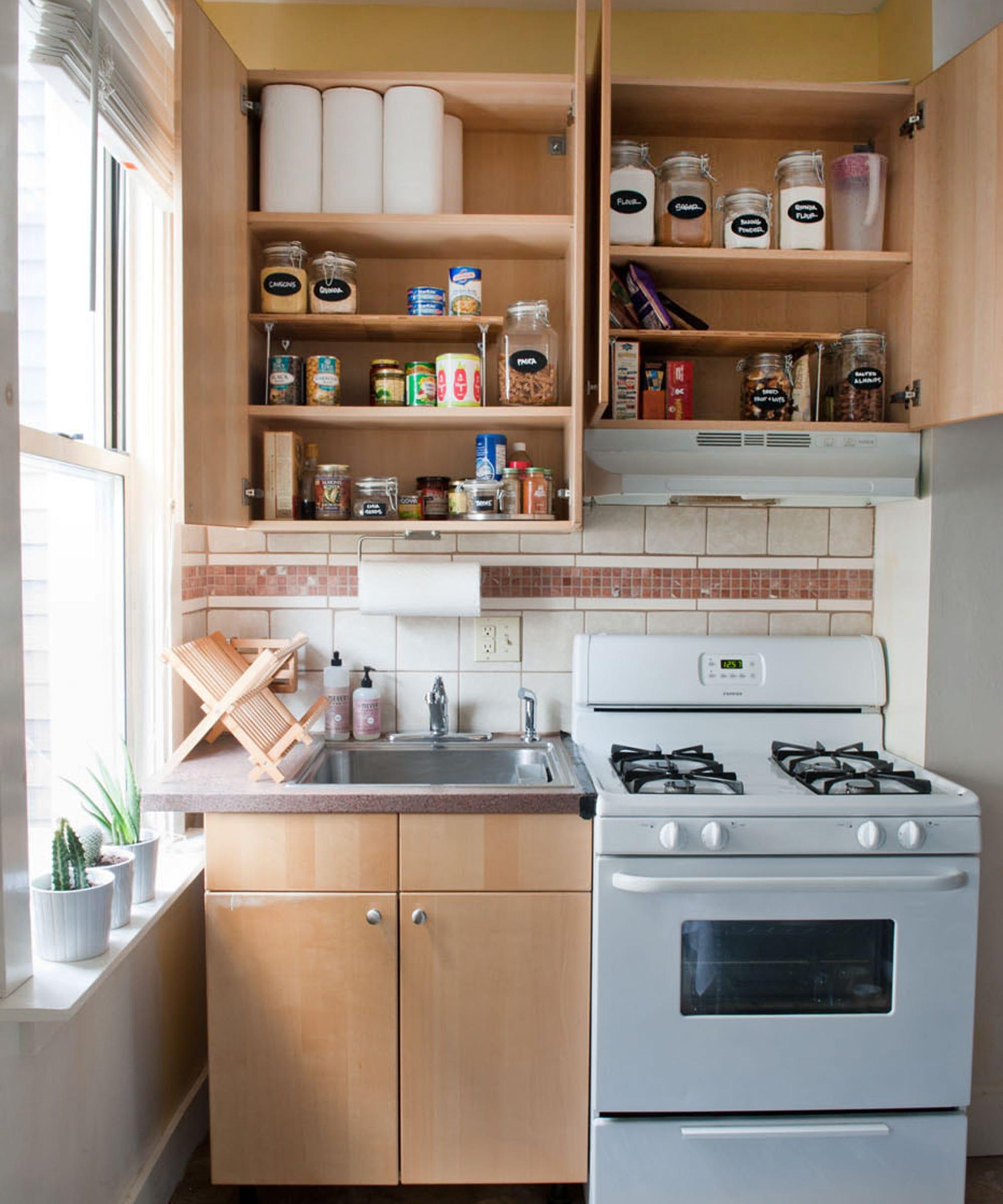 kitchen shelf laying small home organization
