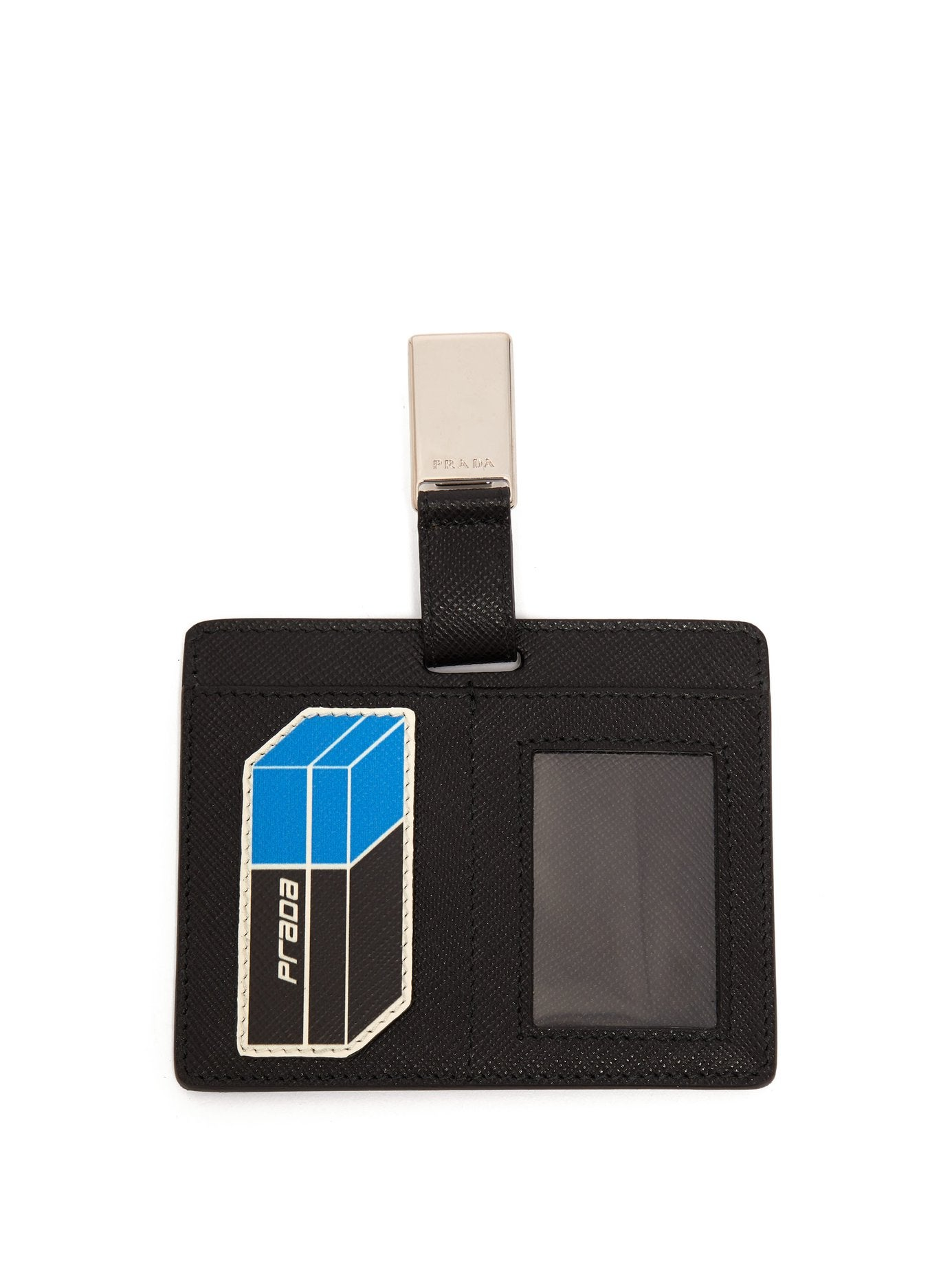 7bf807612926 Prada + Saffiano Leather Clip-on Cardholder Badge