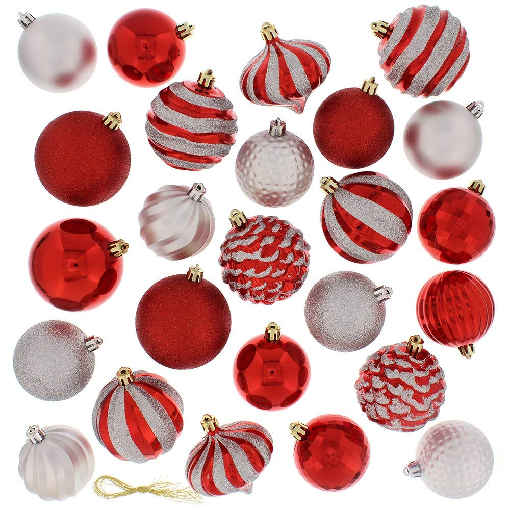 60 Piece Ball Christmas Ornament Set, Red & Silver